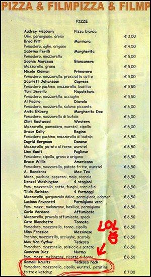 En italie un pizza porte le nom des jumeaux tokio for Les noms des hotels